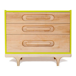 Kalon Studios - Kalon Studios Caravan Dresser in Blue, Green - The Caravan Dresser is available in six bright, contemporary colors. Integrated drawer pulls give the piece a dynamic, clean look.  Made with the highest quality FSC-Certified domestic solid maple and birch panels. Finished with GreenGuard certified 100% non-toxic, low VOC, HAPs free paint and our own natural wood oil.    3 Drawer Dresser