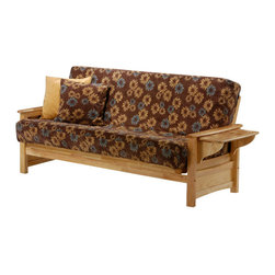 Night & Day Furniture - Night and Day Sunrise Futon Frame - No Drawers - The Sunrise is the cutest little tray arm around with stylish curves and a slated lift-tray. Useful and attractive for serving drinks to guests or enjoying a snack on your own. Our Premium collection wood futon frames are made strong and smart. Built with the finest plantation grown materials and constructed with traditional woodworking good sense, the Sunrise is a piece of furniture that will last for years to come.