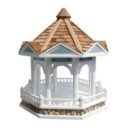 Home Bazaar Bandstand Gazebo Birdfeeder - Even if they don't bring their tiny musical instruments, the neighborhood birds will adore every day spent at the Home Bazaar Bandstand Gazebo Birdhouse. This eight-sided birdfeeder is based on a century old gazebo in California and an equally famous bandshell in Hoboken, New Jersey. Designed by Ken Sobel.About Home BazaarCombining their love of birds and nature with their technical and design abilities, the people of Home Bazaar set out to create the world's most spectacular line of birdhouses and birdfeeders in 1999. They've even created a line of architectural birdhouses, feeders, pedestals, and garden accessories. These items are created using only the finest materials and with painstaking attention to detail. Each product is manufactured for functional use and to be enjoyed for years. Distinctive bird houses and feeders can be matched with accommodating pedestals and these pieces can be placed in the backyard or the garden. Cottage designs and pieces with Victorian scrollwork often end up on covered porches or inside the home as decorative accents.