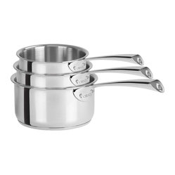 Cristel Casteline Stainless Steel 3-Piece Sauce Pan Set w/Glass Lid - Fixed Hand