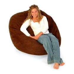 "Large Teen Premier Micro Suede Fuf Foam Lounger Bean Bag Chair - At first glance the """"Fuf Chair"""" would appear to be a beanbag, but don't be fooled! Just experience the patented foam filled """"Fuf Chairs"""" and you will be certain of the difference. The secret is inside the chair. The patented foam filling engulfs one in a soothing cushion of foam. This soft, long lasting material does not break down over time like the traditional bean bag.An optional liner is available. The liner contains foam filling, allowing outer cover removal for washing. If a liner is not ordered, the cover cannot be removed, as the zipper is locked for safety.About Passion Suede Ultra-fine, tightly woven fibers give Passion Suede the look and durability of leather without the related hassle. Spot-clean or toss it in your washing machine without fear of fading or shrinkage. Unlike comfort suede and other microfibers, Passion Suede is almost indesctructible. Soft, sumptuous, and easy to clean -- it will remain plush, with brilliant color despite frequent laundering. With Passion Suede, you always get back what you put in. In accordance with the Consumer Product Safety Commission, this bean bag features a resealable safety closure. The closure seals each zipper and protects children from the age of 12 and younger. Fuf-ing 101 A seat sapped of its sedentary charms can sully your sitting experience, but even the most ferocious flattening is no match for the resilience of a Fuf Foam Lounger. Revitalizing your chair is simple: grab it by the seams, and toss it into the air while rotating your arms clockwise. Repeat five times or until you have sufficiently Fuf-ed the life back into your puffy place to sit. The more time you spend relishing the foamy goodness of your Fuf chair, the more frequently you'll have to Fuf. This means, if you're anything like us, you'll be doing a fair amount of Fuf-ing. < About Comfort ResearchTen years ago Comfort Research created the Fuf chair, an innovative update on the classic bean back chair made of patented Fuf foam. This special blend of foam never goes flat for long-lasting comfort. Based in Grand Rapids, Michigan, Comfort Research has recently developed several new lines of creative, inventive chairs. They have addressed the needs of eco-friendly consumers by creating incredibly comfortable """"green"""" chairs; one style is made with buckwheat filling and organic cotton, the other uses recycled polystyrene filling and a special fabric made of recycled pop bottles. No matter which style or shape of chair you choose, you can be sure that your Comfort Research product will look great and stay comfortable for years to come."