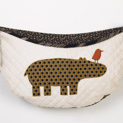 """Cotton Tale Designs - Animal Stackers Toy Bag - A quality baby bedding set is essential in making your nursery warm and inviting. All Cotton Tale patterns are made using the finest quality materials and are uniquely designed to create an elegant and sophisticated nursery. Part of the Animal Stackers collection is the embroidered toy bag with hippo and bright bird on quilted pima cotton. Cord and ties in woven stripe. Toy bags can be used as wall decor or can be tied to changing table to hold toys or supplies. Never tie toy bags to the crib. About 10 pound capacity. Measures 27"""" x 13"""". Machine washable, cold water, gentle cycle, separate. Tumble dry low. perfect for a girl or a boy.; Weight: 1 lb; Dimensions: 27""""L x 1""""W x 13""""H"""