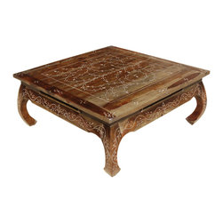 Sierra Living Concepts - Bone Inlay Wood Opium Square Coffee Table - Turn back the pages of time to the era of Asian majesty with our elegant Snow Flower Bone Inlay Wood Opium Square Coffee Table.