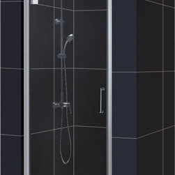 DreamLine - DreamLine SHDR-4130720-04 Elegance 30 1/2 to 32 1/2in Frameless Pivot Shower Doo - The Elegance pivot shower door combines a modern frameless glass design with premium 3/8 in. thick tempered glass for a high end look at an excellent value. The collection is extremely versatile, with options to fit a wide range of width openings from 25-1/4 in. up to 61-3/4 in.; Smart wall profiles make for an easy and adjustable installation for a perfect fit. 30 1/2 - 32 1/2 in. W x 72 in. H ,  3/8 (10 mm) thick clear tempered glass,  Chrome or Brushed Nickel hardware finish,  Frameless glass design,  Width installation adjustability: 30 1/2 - 32 1/2 in.,  Out-of-plumb installation adjustability: Up to 1 in. per side,  Frameless glass pivot shower door design,  Elegant pivot mechanism and anodized aluminum wall profiles,  Door opening: 26 in.,  Reversible for right or left door opening installation, Aluminum, Brass