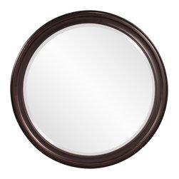 Howard Elliott - Howard Elliott George Bronze Round Mirror - Oil rubbed bronze round wood vanity mirror
