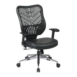 Office Star - Raven SpaceFlex Back and Black Vinyl Seat - A variety of design elements including a vinyl seat and a flexible plastic back make this adjustable desk chair a comfortable and fashion forward choice for your office decor. Designed with both form and function in mind, the chair is finished in black and features a castered base for added comfort. Self adjusting SpaceFlex backrest support system with breathable memory foam mesh seat. One touch pneumatic seat height adjustment. 2-to-1 syncro tilt control with adjustable tilt tension control. Height adjustable arms with forward/backwards adjustable PU pads. Heavy duty angled polished aluminum finish base with over sized dual wheel carpet casters                                            . 27.25 in. W x 26.5 in. L x 44 in. H