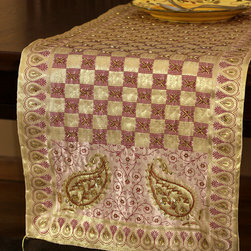 """Elegant Table Runners - One-of-a-kind table runner """"Creamy Peach"""". Very unique hand embroidered pattern with beautiful hand crafted design. Pink Orange Gold"""