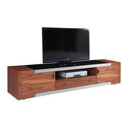 White Line Imports - Franco Walnut TV Stand - Made with durable walnut veneers and black glass top, Franco Walnut TV Stand perfectly fits into any interior, and at the same time will look stylish. Also available in High Gloss White finish.