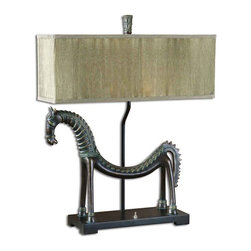 Uttermost - Uttermost Tamil Horse Table Lamp - Uttermost Tamil Horse Table Lamp is a part of Billy Moon Collection by Uttermost This creative horse lamp is finished in an olive bronze with a verdigris glaze. The rectangle box shade is pleated silken champagne. Lamp (1)