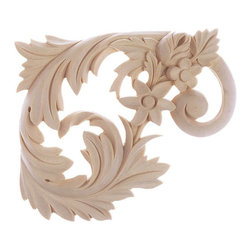 """Inviting Home - Dallas Stair Brackets (Right) - maple wood - Right stair bracket hand-carved from solid maple hardwood 5-1/2""""H x 6-1/2""""W x 5/8""""D Wooden decorative stair brackets specifications: Outstanding quality wood stair brackets carved from solid North American hardwoods including bass hard maple red oak and cherry. Decorative design is hand carved. Stair brackets are triple sanded and can be easily stained painted or glazed."""