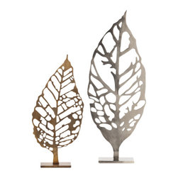 """Arteriors - Arteriors Home - Hyde Laser Cut Leaf Sculpture - 6393 - Arteriors Home - Hyde Laser Cut Leaf Sculpture - 6393 Features: Hyde Collection SculptureVintage brass finishLaser cut leaf sculptureAvailable in the small size Iron constructionBrushed nickel finish Some Assembly Required. Dimensions: 10.5 - 12"""" W X 4 - 5 """" D X 21.5 - 30 """" H"""