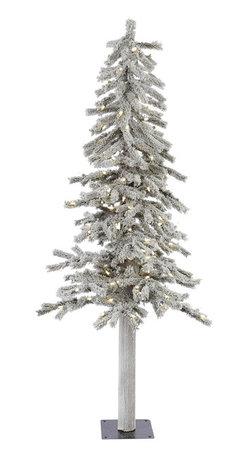 "Vickerman - Flocked Alpine 348T 150WmWht LED (5' x 27"") - 5' x 27"" Flocked Alpine Tree , 348 PVC tips and 150 Warm White Italian LED Lights Utilizes energy-effiecent, durable LED technology."