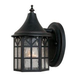 Joshua Marshal - One Light Slate Pale Cream Textured Glass Wall Lantern - One Light Slate Pale Cream Textured Glass Wall Lantern