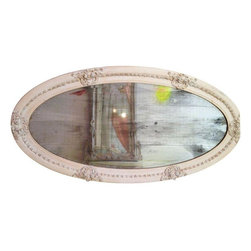 Pre-owned Antique Oval Mirror - An antique oval mirror likely from early 1900s, with the original beveled face still intact. The frame is made from plaster and wood, with light gold paint work on the ivory surface. Includes a handwritten note on the back likely from original owners (hard to make out the names on the back). A beautiful piece you can mount horizontally or vertically.