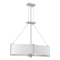 Brushed Nickel Energy Star Oval Chandelier/Pendant With Gray Fabric Shade - Condition: New - in box