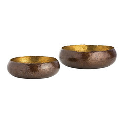 "Arteriors - Alessandria Bowls, Set of 2, Bronze/Brass - Solid brass hammered ""low"" bowls feature a bronze or polished nickel exterior highlighted by a polished brass interior. The hand cut edges further illustrate the handmade aspect of these bowls. Decorative use only.  Large: 13 1/2 dia. X 5 1/2 h  Small: 10 1/2 dia. X 4 1/2 h"
