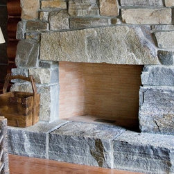 Adirondack Lakeside Compound - American Granite™ full bed building stone, feature stone, and hearth stones. John Abrahamson mason contractor. Photography by Michael Sylvia.