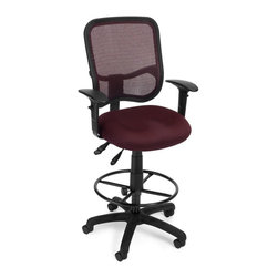 OFM - OFM Comfort Series Ergonomic Task Chair with Arms Draft Kit in Wine - OFM - Drafting Chairs - 130AA3DKA03 - It's all-day comfort and long-term style with OFM's Modern Mesh Ergonomic Task Stool 130-AA3-DK. The back features built-in lumbar support and breathable mesh provides hours of comfort. Plus the mesh and seat fabric are it stain resistant so the chair ke