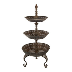 Oriental Furniture - 3 Tier Iron Tray Display Stand - Standing over three feet tall, this tiered stand makes a striking display in the home or garden. Each level features classical sunburst openwork and a detailed lattice base, and the entire stand is finished with a weathered faux-rust patina for a wonderful antique appearance.