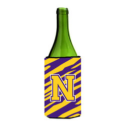Caroline's Treasures - Monogram - Tiger Stripe - Purple Gold Initial N Wine Bottle Koozie Hugger - Monogram - Tiger Stripe - Purple Gold Letter N Wine Bottle Koozie Hugger CJ1022-NLITERK Fits 750 ml. wine or other beverage bottles. Fits 24 oz. cans or pint bottles. Great collapsible koozie for large cans of beer, Energy Drinks or large Iced Tea beverages. Great to keep track of your beverage and add a bit of flair to a gathering. Wash the hugger in your washing machine. Design will not come off.