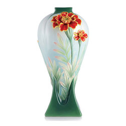 Franz Porcelain - FRANZ PORCELAIN COLLECTION Longevity French Marigold Vase FZ03098 - Finished In Lead Free Glazes * Hand Painted By Franz Porcelain Artisans * FDA Approved Food/Plant Safe * New In The Original Box