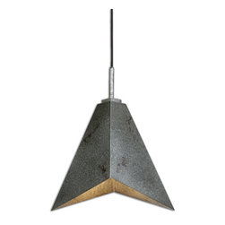 Uttermost - Flint 1-Light Industrial Modern Pendant - Angular sheets of industrial metal in an antiqued silver finish highlighted with warm rust distressing make up the character of this sleek, elegant pendant able to blend with today's clean interior styles.