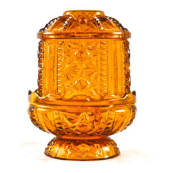 "Indiana Glass - Adonis Collection | Indiana Glass - Indiana Glass amber fairy light in the ""Stars and Bars"" pattern, a candle lamp comprising a candle holder and cover. 6.25"" high and 5"" across.  Fine condition."