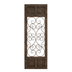 Benzara - Wood Metal Wall Panel in Dark Brown Color with Classic Style - This wall panel is perfect for elevating your decor both at home and outdoors This wall panel made from wood and metal is Gthe' thing for decorating your walls. This decorative wall panel fits in seamlessly with different styles of home decor. Besides decorating your interiors, you can use it for adorning your patio or porch too. Transform your bare walls into an artistic expression with this wall panel. Use it as a standalone on a wall, or place it as a part of the theme of your decor either ways, the result you get is aesthetically superior. The uncluttered, simple wrought metal art renders a graceful style to this piece. The wooden frame is given a dark brown color that compliments the metal art work. Place it in your hall, living room, at the entrance or in the passage and add simple elegance that will not go unnoticed.