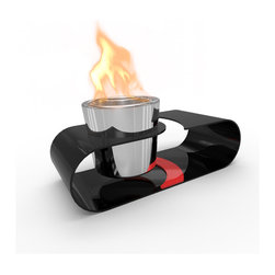 Decorpro - Si Bio Ethanol Indoor/Outdoor Fireburner - Si is extremely compact and great for counter-top and tabletop use. Beautiful black curves with a splash of red makes a great statement.  Makes a great gift! Use the Sunjel one time use fuel canister or Organica Bio Safety Fuel, to create the wonderful smoke free flame. This product includes a snuffer. Fuel sold separately. This Fireburner / Firepot is made of steel and is painted in a durable epoxy powdered paint. Suitable for any climate.