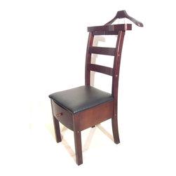 Proman Products - Proman Products Manhatten Chair Valet with Open Tray in Dark Walnut - Manhatten chair valet with open tray on top and two swing out trays underneath. Drawer under seat. Chinese hard wood in dark walnut finish
