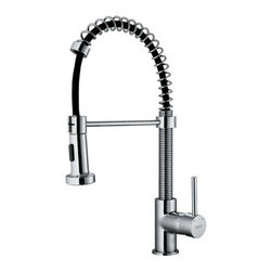 "Vigo - Vigo VG02001CH Chrome Kitchen Faucets Kitchen Faucet Single Handle - Kitchen Faucet Single Handle with Pull-Out Spray and 18.5"" Height Make your kitchen ""pop"" with this functional Vigo faucet. Vigo VG02001 Includes:  Pullout spray kitchen faucet All mounting hardware Hot and cold water lines  Vigo VG02001 Faucet Features:  Solid brass construction which ensures durability and longer life Dual pullout spray head featuring aerated flow or powerful spray Easy to clean pullout spray face Unique finishing process resists corrosion and tarnishing, exceeding industry durability standards High-quality ceramic disc cartridge ensures maintenance-free use 360-degree swivel spout Retractable spout expandable up to 30"" Single-hole installation Single lever water and temperature control Water pressure tested for industry standard 2.2 GPM flow rate Limited Lifetime Warranty  Vigo VG02001 Faucet Specifications:  Spout height: 18 1/2"" Spout reach: 10"" 2.2 GPM Flow Rate  Vigo VG02001 Faucet Certifications:  UPC, cUPC, CSA, IAPMO, ANSI and SCC Listed ADA Compliant  Alternate Configurations of the VG02001:  VG02001K1: This model includes matching deck plate VG02001K2: This model includes matching soap dispenser Kitchen Combos: For Vigo kitchen sink and faucet combos that include this kitchen faucet search: VG02001 Combos"