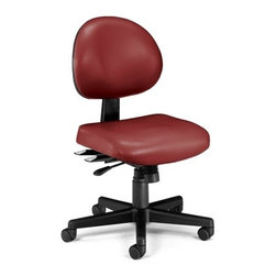 OFM - OFM 24 Hour Anti-Microbial Vinyl Computer Task Chair, Wine - This multi-shift chair can handle continuous sitting, 24 hours a day, 7 days a week. Great for government offices that require around-the-clock staffing, like hospitals and police stations. The adjustable back can fit anyone who uses it. The vinyl covering is easy to maintain in high-use environments. The anti-microbial, anti-bacterial vinyl covering is great for keeping rooms germ-free! ANSI/BIFMA approved.
