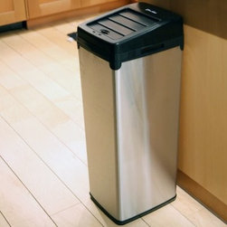 iTouchless IT14SC Trashcan SX Stainless Steel 14 gal. Trash Can - The iTouchless IT14SC Trashcan SX Stainless Steel 14 Gallon Trash Can is a space-saving automatic trash can that keeps your hands clean and germ-free. This hands-free trash can uses the AI Smart-Chip II technology to open the lid when it detects movement within 6 inches and it has the capacity to hold standard 18-gallon garbage bag. The SX trash can is constructed from durable stainless steel with the option of a stainless steel black or white finish. It comes with a garbage bag retainer ring. Uses 4 D-size batteries (not included) with an optional AC power adapter. Dimensions: 13.25L x 10.75W x 30.75H inches.About iTouchlessiTouchless Housewares & Products creator of the Touchless Trashcan EZ Faucet and Towel-Matic manufactures and distributes a line of innovative products for your home and office. Their mission: to make people's lives a little easier by using their products. Over the last 15 years iTouchless has established a solid foundation and assembled multiple factories in Asia to support the increasing demand of sensor-activated products. Their vision for the future is to create a continuous stream of customer-driven innovations while selecting strategic partners and distributors to form mutually beneficial relationships.