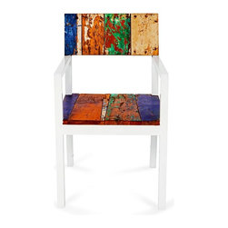 EcoChic Lifestyles - Neptune Reclaimed Wood Side Chair, Blue and Green - The fine white arms of the Neptune Dining Chair contrast strikingly with the colorful weathered wood reclaimed from fishing boats. The slender lines make it elegant enough for the dining room, and the marine-grade teak makes it stalwart enough for the out-of-doors.
