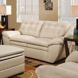 "Acme Furniture - Devyn Loveseat in Winner Pearl Bonded Leather - Devyn Loveseat in Winner Pearl BLM; Finish: Winner Pearl BLM; Materials: Bonded Leather Match; Tufted Back, Angle Arm Rest; Dimensions: 72""L x 41""D x 37""H"