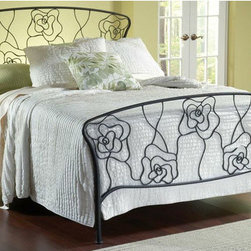 "Hillsdale - Rose Metal Bed - Hillsdale Furniture's whimsical Rose Bed features delicate styling and graceful lines. Inspired by the petals of a rose, this gracefully designed bed boasts a gently curved silhouette, a dynamic aged steel finish and intricate metal detailing. Features: -Rose collection. -Finish: Dynamic Aged Steel. -Intricate metal detailing. -Gently curved silhouette. Dimensions: -Queen: 52.5"" H x 78"" W x 83.5"" D, 76 lbs. -King: 52.5"" H x 80"" W x 83.5"" D, 125 lbs."