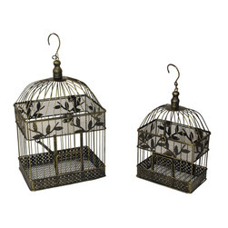 ecWorld - Urban Designs Antique Gold Decorative Metal Bird Cages (Set of 2) - This gorgeous replica of old Victorian birdcages comes in a traditional antique gold coat finish. A unique decor idea use to display your favorite faux flowers and botanicals ready to uplift any room decor. Intricate detailing includes leaves accents, a domed top, and a rectangular doorway. A wide hanging loop at the top. Suitable for indoor or outdoor use. Ready to display