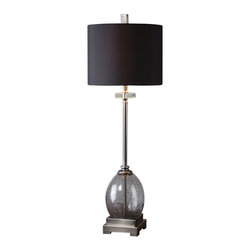 Uttermost - Uttermost Denia Gray Glass Table Lamp - Denia Gray Glass Table Lamp by Uttermost Mottled Charcoal Gray Glass With Burnished Brushed Aluminum Details And Crystal Accents. The Round Hardback Shade Is A Black Linen Fabric.