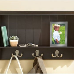 Nielsen Bainbridge - Entryway Wall Storage with Coat Hooks - A perfect balance of utility and elegance, the Entryway Wall Storage adds convenience and style to your daily routine. It features three metal coat hooks, a full-width cubby, and a flat top where you can display photographs and more.