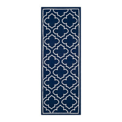 """Safavieh - Montague Dhurrie, Navy / Ivory 2'6"""" X 7' - Construction Method: Hand Woven Flat Weave. Country of Origin: India. Care Instructions: Vacuum Regularly To Prevent Dust And Crumbs From Settling Into The Roots Of The Fibers. Avoid Direct And Continuous Exposure To Sunlight. Use Rug Protectors Under The Legs Of Heavy Furniture To Avoid Flattening Piles. Do Not Pull Loose Ends; Clip Them With Scissors To Remove. Turn Carpet Occasionally To Equalize Wear. Remove Spills Immediately. The classic geometric motifs of Safavieh's flat weave Dhurrie Collection are equally at home in casual, contemporary, and traditional settings. We use pure wool to best recreate the original texture and soft colorations of antique dhurries prized by collectors. The Dhurrie weave is native to India, and every step in our production process faithfully follows the traditions of local artisans. The results are natural, organic and with wonderful nuances in pattern and tone."""