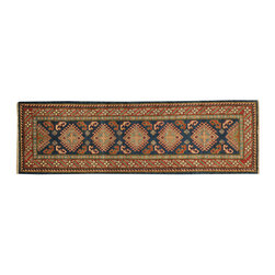 1800-Get-A-Rug - Denim Blue Hand Knotted Geometric Kazakh Runner Oriental Rug Sh18369 - Our tribal & geometric hand knotted rug collection, consists of classic rugs woven with geometric patterns based on traditional tribal motifs. You will find Kazak rugs and flat-woven Kilims with centuries-old classic Turkish, Persian, Caucasian and Armenian patterns. The collection also includes the antique, finely-woven Serapi Heriz, the Mamluk Afghan, and the traditional village Persian rug.