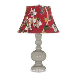 "Color Plus - Contemporary Requisite Gray Red Botanical Shade Apothecary Table Lamp - Requisite Gray glass table lamp. Red botanical print bell shade. Lucite base. Maximum 150 watt or equivalent bulb (not included). On/off switch. 30"" high. Shade is 10"" across the top 17"" across the bottom 11"" on the slant.   Requisite Gray glass table lamp.  Red botanical print bell shade.  Lucite base.  Maximum 150 watt or equivalent bulb (not included).  On/off switch.  30"" high.  Shade is 10"" across the top 17"" across the bottom 11"" on the slant."
