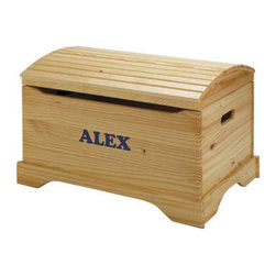 "Little Colorado - Personalized Captain's Chest Toy Box - The slatted, curved top of this Captain's Chest gives this keepsake toy box a distinctive look. Made by hand of solid knotty pine to last a lifetime and beyond. It comes fully assembled with an already installed and tested safety lid that prevents the lid from falling. The front panel has an additional finger safety cutout and hand holds are cut into the sides. Make this item even more special by personalizing it! Features: -Lid lifts to reveal storage space.-Safety approved lid supports and continuous hinges.-Machine-cut vinyl letters.-Solid knotty pine construction.-Top quality, non-toxic, environmentally friendly and easy-to-clean acrylic finish.-Personalization Specifications: Up to 12 letters can be used all in the same color.-Hardware Finish: Black/Nickel.-Distressed: No.-Frame Material: MDF/Birch plywood.-Hardware Material: Metal lid support, nickel plated steel continuous hinge, metal screws.-Solid Wood Construction: No.-Number of Items Included: 1.-Number of Interior Storage Sections: 1.-Lidded: Yes -Removable Lid : No.-Safety Lid: Yes..-Upholstered: No.-Handles: Yes.-Casters: No.-Stackable: No.-Storage Capacity: 3.5 cubic feet.-Weight Capacity: 100 lbs.-Swatch Available: No.-Commercial Use: Yes.-Recycled Content: No.-Product Care: Do not use products containing ammonia.-Country of Manufacture: United States.-Age Recommendation: Ages 3 and up.Specifications: -FSC Certified: Yes.-CPSIA or CPSC Compliant: Yes.-CARB Compliant: Yes.-JPMA Certified: No.-ASTM Certified: Yes.-PEFC Certified: No.-Green Guard Certified: No.Dimensions: -Overall Height - Top to Bottom: 19"".-Storage Compartment: -Storage Compartment Height - Top to Bottom: 11"".-Storage Compartment Width - Side to Side: 26"".-Storage Compartment Depth - Front to Back: 17""..-Letters: -Letter Height - Top to Bottom: 2.5""..-Clearance from Floor to Bottom of Product: 3"".-Overall Product Weight: 39 lbs.Assembly: -Additional Parts Required: No.Warranty: -Product Warranty: 1 year limited warranty."