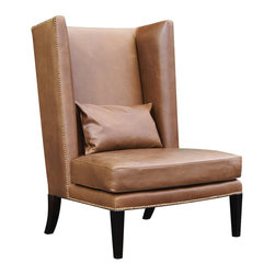 Oly Studio - Oly Studio Gabriel Chair - The handsome Gabriel chair is at once inviting and debonair. Filling the room with sophistication, this Oly Studio creation combines a tall, commanding back with thick cushions and nailhead detailing for a mid-century modern look. Hardwood frame with upholstery; Choose from several finish and upholstery options; Shown in dark brown finish with coffee leather upholstery; Trim options: welting standard on white herringbone and wool; nailhead trim standard on leather and mohair; spaced nailhead standard on raffia; Handcrafted with natural and expected variations; COM yardage: 5; Fabric samples are available on loan, email your request to swatches@zincdoor.com.