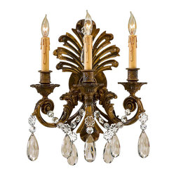 """Frontgate - Victoria Vintage Three-Light Wall Sconce - Provides ample illumination while making a brilliant focal point for any room. Arms extend 8-1/4"""" from the wall. Takes three 60-watt candelabra base bulbs (not included). 120V. UL listed. Our Victoria Vintage Three-Light Wall Sconce gracefully showcases three 60-watt bulbs that use faux candle drippings on the sleeves for a classical look. An oxidized brass finish and dangling Bohemian crystals complete the stately presentation that brings dignity to a dining room, formal living room, foyer, or hallway.  .  .  .  .  . One year limited manufacturer's warranty . Some assembly required . Imported."""