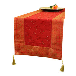 """Banarsi Designs - Hand Embroidered Table Runner, Scarlet Red, 120"""" X 17"""" - The artistic """"Hand Embroidered Table Runner"""" from our Exclusive Banarsi Designs Collection transforms any tabletop into a visual masterpiece. Our unique decorative table runner is made in India and features an abstract pattern that incorporates techniques using hand embroidery throughout the entire decorative pattern."""