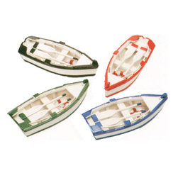 """Set of Four Wooden Boats w/ Paddles - The set of four wooden boats w/ paddles measures 4.75"""" x 2"""" x 1"""" each. Each boat is hand painted a different color. They each come with their own paddles along with a life ring inside the boat. They will add a definite nautical touch to whatever room they are placed in and are a must have for those who appreciate high quality nautical decor. They make a great gift, impressive decoration  will be admired by all those who love the sea."""