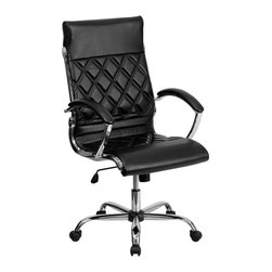 Flash Furniture - Flash Furniture High Back Designer Black Leather Executive Office Chair - This elegant office chair will add an upscale appearance to your office with its attractive stitched seat and back. The comfort molded seat has built-in lumbar support and features a locking tilt mechanism for a mid-pivot knee tilt. If you're looking for a modern office chair that provides a sleek look, then the Designer Upholstered Leather Office Chair by Flash Furniture delivers.