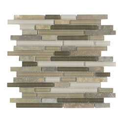 Vetro Italia Como Stone and Glass Linear Mosaic Tiles, 10 Square Feet - Como random strip glass and stone mosaic includes browns and beige glass blended with a mix of stone in a variety of colors.