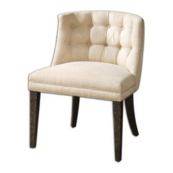 "Trixie Tufted Slipper Chair - Velvety Smooth, Cream Brushed Fabric Is Button Tufted And Accented With A Double Row Of Steel Nails. White Mahogany Frame Is Crafted With Double Doweled Joinery And Finished In Antiqued Black, Mottled With Natural Wood Undertones. Seat Height Is 20.5"" Bulbs Included: No"